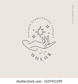 Vector design linear template logo or emblem - hand with star signs. Abstract symbol for cosmetics and packaging or beauty products