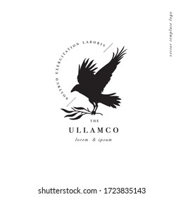 Vector design linear template logo or emblem - crow with branch. Template symbol for personal brand, psychology, astrology and esoteric