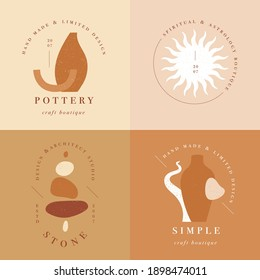 Vector design linear template logos or emblems - mystery boho style. Abstract symbol for hand made products and craft boutiques