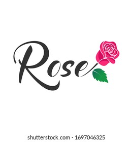 Vector, Design, logo ROSE writing and flower with a merging concept