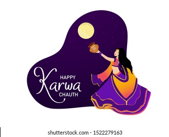 Vector design of looking through sieve during Karwa Chauth celebration in India. Indian women fast for her husbands and Creative concept with decorated karwa for indian festival_Illustration.