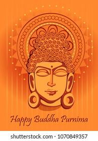Vector design of Lord Buddha on Happy Buddha Purnima Vesak holiday festival background