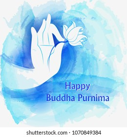Vector design of Lord Buddha on Happy Buddha Purnima Vesak holiday festival background