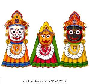 Vector design of Lord Jagannath, Subhadra and Balabhadra