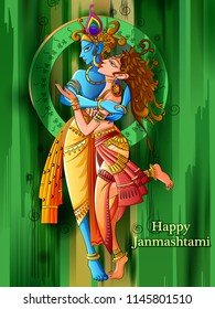 Vector design of Lord Krishna playing bansuri (flute) with Radha on Happy Janmashtami holiday festival background