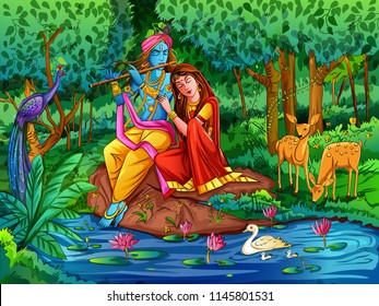 Vector design of Lord Krishna playing bansuri (flute) with Radha on Happy Janmashtami holiday festival background