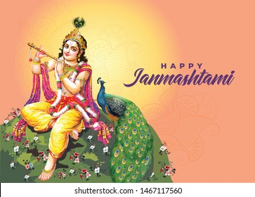 Vector design of Lord Krishna playing bansuri (flute) on Happy Janmashtami holiday festival background