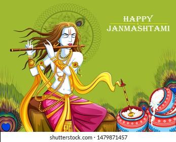 Vector design of Lord Krishna playing bansuri (flute) on Happy Janmashtami holiday festival background