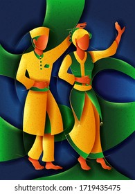 Vector design of Malay Couple performing Zapin dance of Malaysia