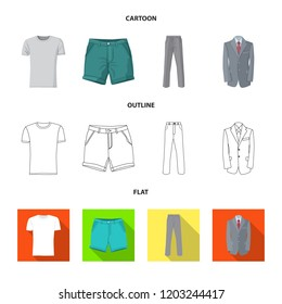 Vector design of man and clothing icon. Set of man and wear vector icon for stock.