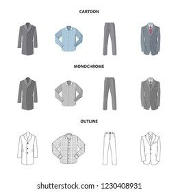 Vector design of man and clothing icon. Set of man and wear stock vector illustration.