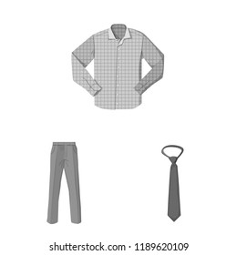 Vector design of man and clothing logo. Collection of man and wear stock symbol for web.