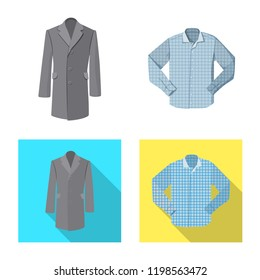 Vector design of man and clothing symbol. Collection of man and wear stock symbol for web.