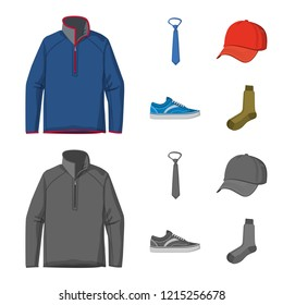 Vector design of man and clothing symbol. Set of man and wear stock vector illustration.