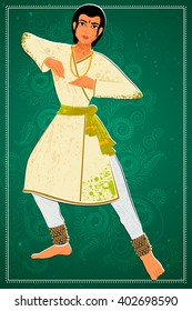 Vector design of man performing Kathak classical dance of Northern India