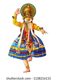 Vector design of man performing Kathakali classical dance of Kerala, India