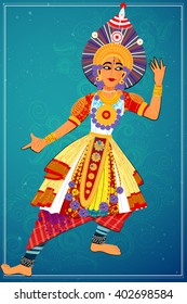 Vector design of man performing Yakshagana classical dance of Karnataka, India
