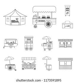 Vector design of market and exterior symbol. Set of market and food vector icon for stock.