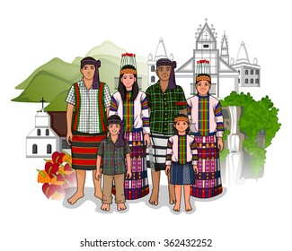 Vector design of Mizo family showing culture of Mizoram, India