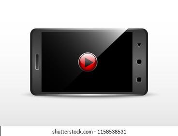 vector design mobile app video play landscape mode