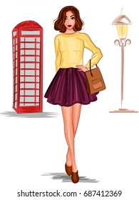 Vector design of modern stylish trendy woman fashionable model