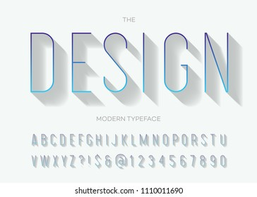 Vector design modern typeface gradient style with shadow. Font trendy typography sans serif style for t shirt, promotion, party poster, logo, motion, sale banner, printing, decoration, stamp. 10 eps