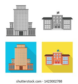 Vector design of municipal and center icon. Set of municipal and estate   stock vector illustration.