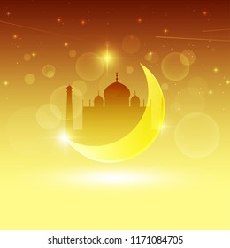Vector design of muslim mosque and moon on a background of a starry sky on a holiday of eid al adha