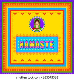Vector design of Namaste meaning Greetings background in Indian Truck Art style