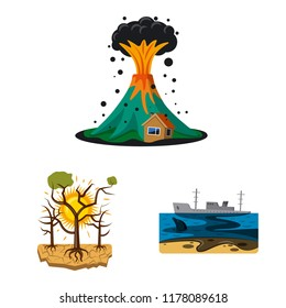 Vector design of natural and disaster logo. Collection of natural and risk vector icon for stock.