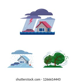Vector design of natural and disaster symbol. Collection of natural and risk stock vector illustration.