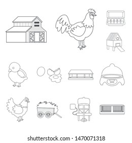 Vector design of nature and agriculture symbol. Set of nature and animal stock vector illustration.