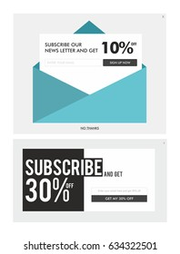 Vector design of news letter signups and offer banner for web design