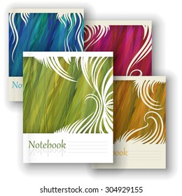 Vector design notebooks with an image of grass: magenta, green, orange, blue.