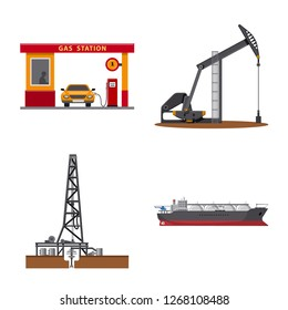 Vector design of oil and gas icon. Collection of oil and petrol vector icon for stock.