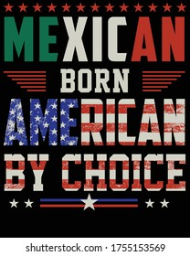 Vector design on the theme of American citizenship, Mexican born  Independent's of United States of America,  Stylized American flag, typography, t-shirt graphics, print, poster, banner