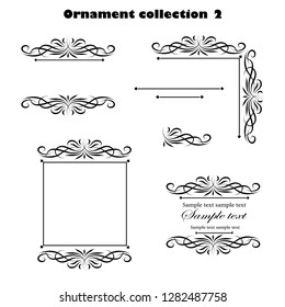 Vector design ornament black elements on a white background for the design of greeting and invitation cards. Vector design elements for infographic, web, internet, presentation.
