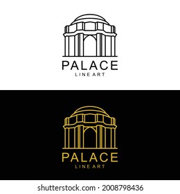 Vector Design palace Line art style In Color Black , White and Gold
