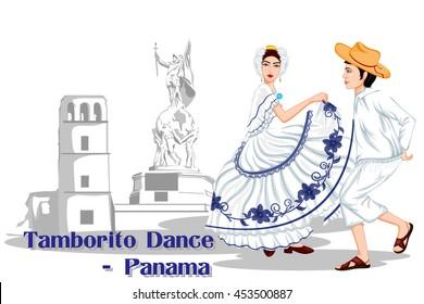 Vector design of Panamanian Couple performing Tamborito dance of Panama