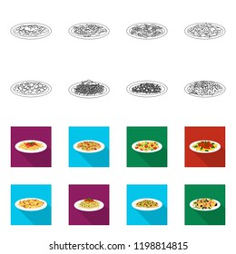Vector design of pasta and carbohydrate logo. Set of pasta and macaroni stock vector illustration.