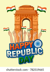 Vector design of patriotic backgrounf for Happy Republic Day of India, 26th January