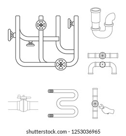Vector design of pipe and plumbing logo. Collection of pipe and metal stock symbol for web.