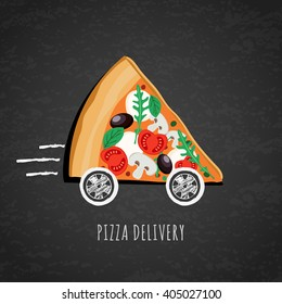 Vector design for pizza delivery, italian restaurant menu, cafe, pizzeria. Pizza with wheels on black chalkboard background. Slice of pizza with tomato, olives, mushrooms. Fast food delivery symbol.