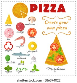 Vector design for pizza. Food collection, Ingredients for pizza.