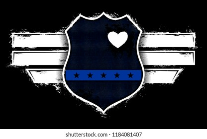 Vector Design With Police Badge And Hearth, Police Officer, The Blue Line
