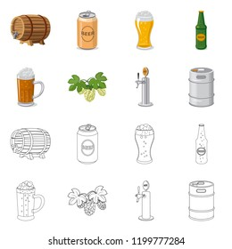 Vector design of pub and bar logo. Set of pub and interior stock vector illustration.