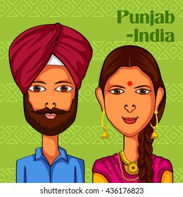 Vector design of Punjabi Couple in traditional costume of Punjab, India