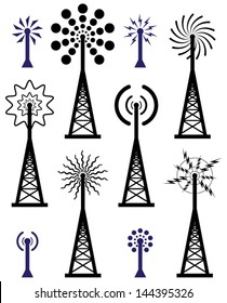 vector design of radio tower and wave broadcast symbols and icons