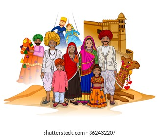 Vector design of Rajasthani family showing culture of Rajasthan, India