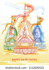 Vector design of Ratha Yatra of Lord Jagannath, Balabhadra and Subhadra on Chariot